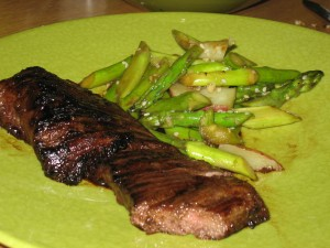Teriyaki Skirt Steak with Sesame Asparagus