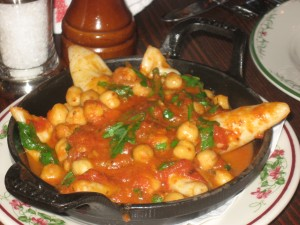 Calamari with Garbanzo Beans sauteed in a Marinara Sauce