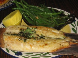 Gemma Branzino Al Forno; Roasted Mediterranean Sea bass on Cedar with sauteed green beans