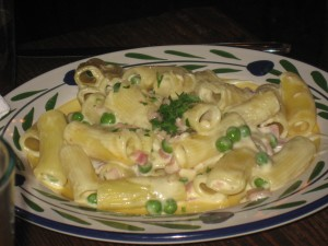 Rigatoni; Procuitto Cotto, Peas, and Cream