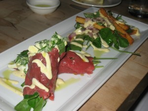"beef carpaccio, ""french fry salad"", parmesan, peppercress, dijon"