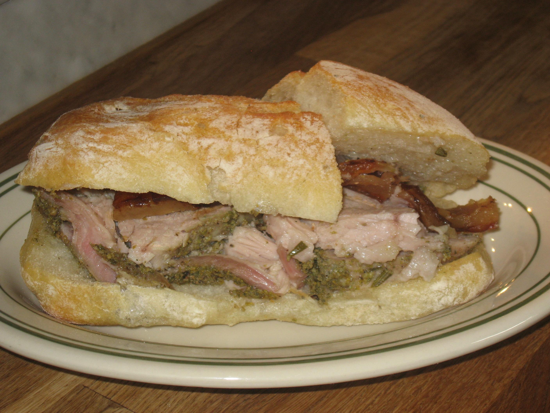 Porchetta, Sandwich Porchetta, Plate Mozzarella, Sandwich